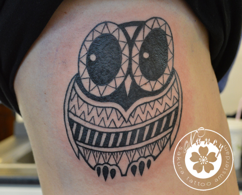 Geometric owl tattoo - photo#21